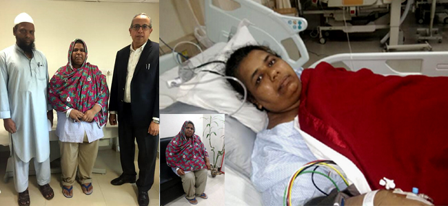After successful bariatric surgery, Aurangabad woman Zeenath Khan with her husban and Dr. Ramen Goel